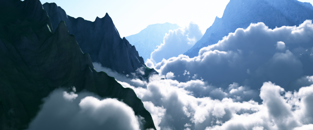 Animated Environment Render Test of Mountains and Clouds