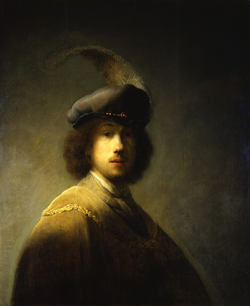 23TODO - Self-Portrait, Age 23 1629 Rembrandt, Dutch, 1606-1669 Oil on wood, 89.7 x 73.5 cm (ISABELLA STEWART GARDNER MUSEUM)